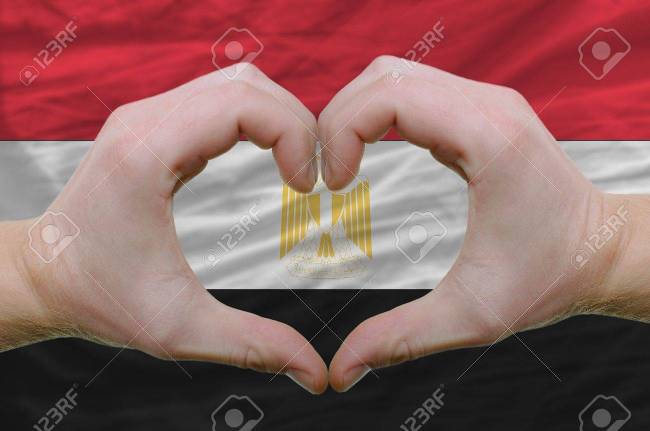 Gesture Made By Hands Showing Symbol Of Heart And Love Over Egypt