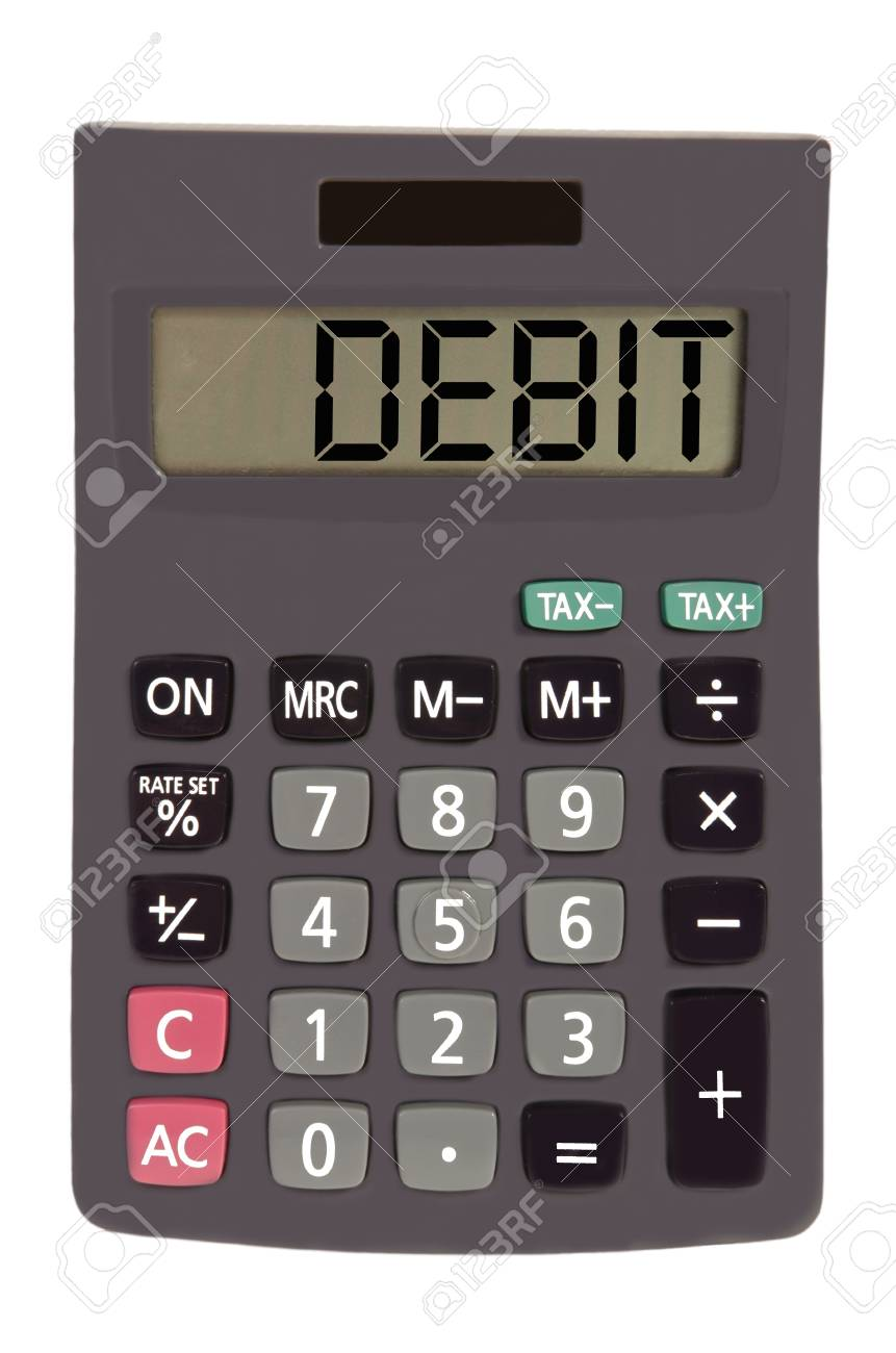 debit on display of an old calculator on white background Stock Photo - 11112142