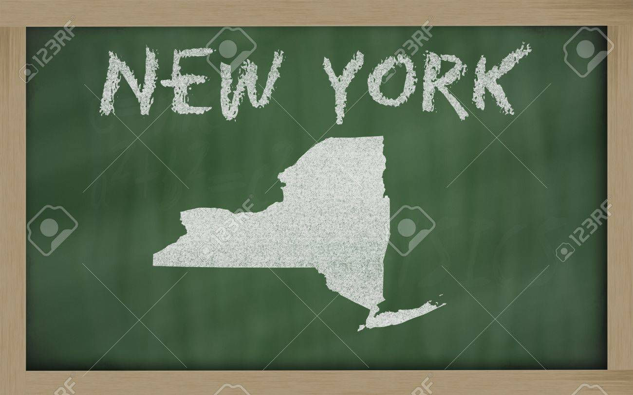 drawing of new york state on chalkboard, drawn by chalk Stock Photo - 11494355