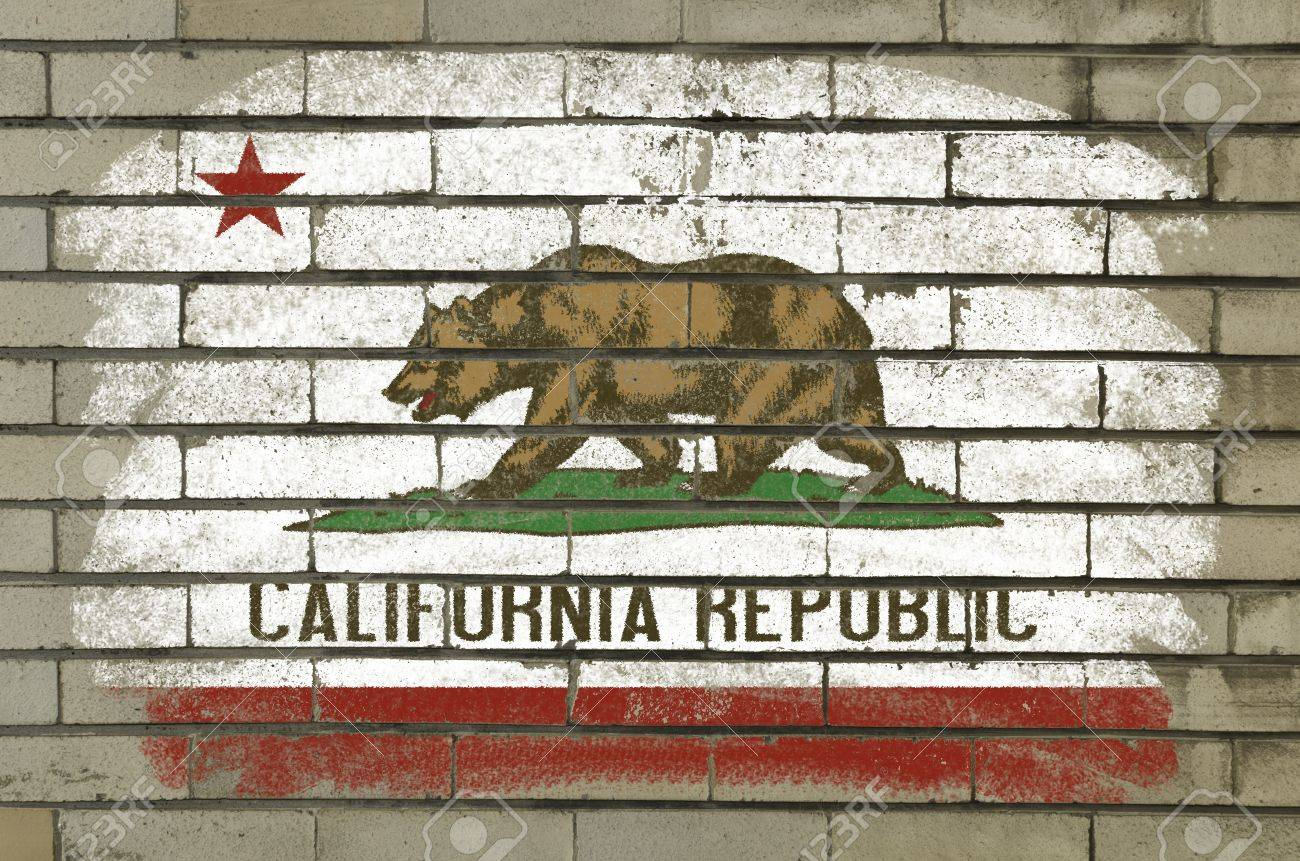 Chalky And Grunge American State Of California Flag Painted With Color Chalk On Brick Wall Stock