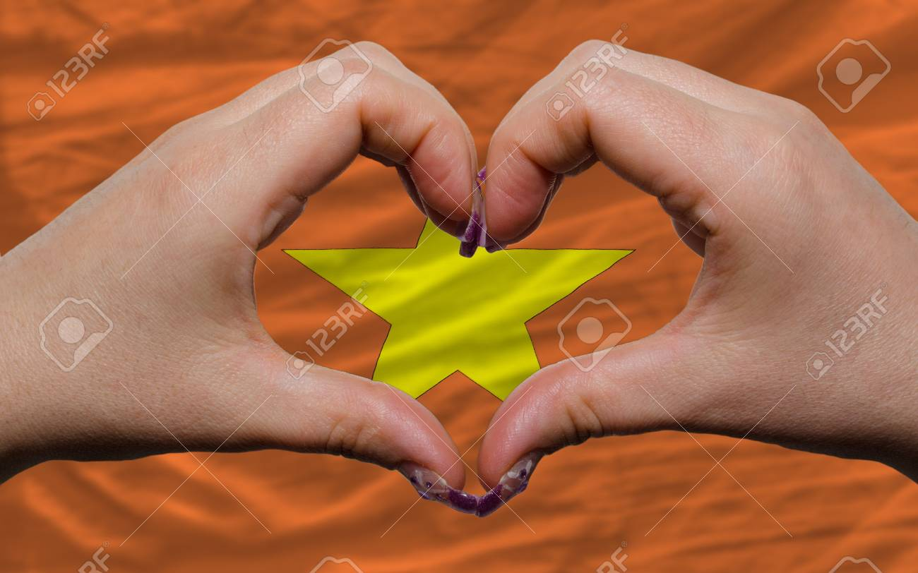 Gesture made by hands showing symbol of heart and love over national vietnam flag Stock Photo - 12478698