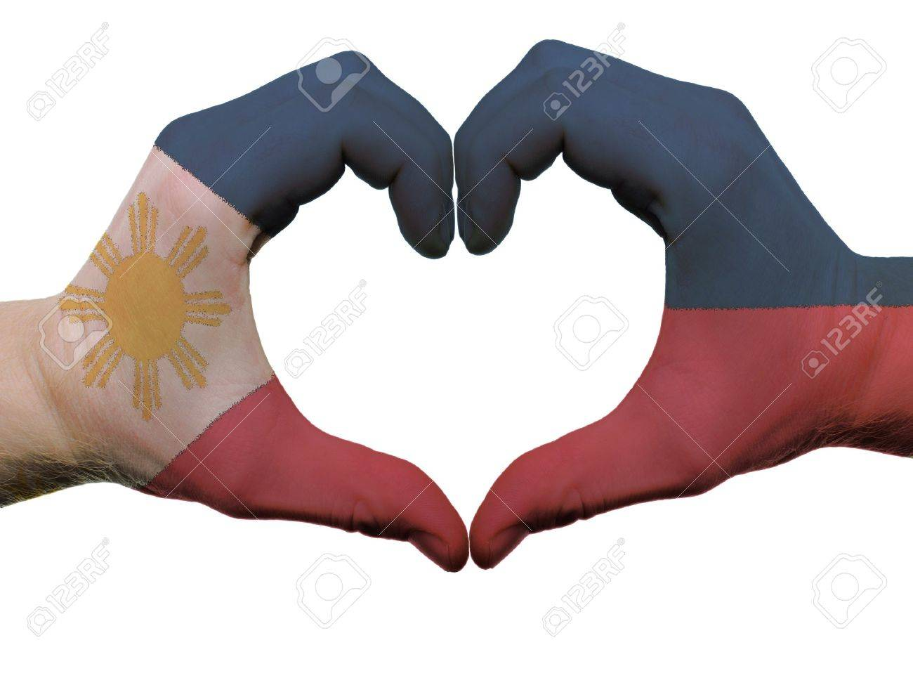 Gesture made by philippines flag colored hands showing symbol gesture made by philippines flag colored hands showing symbol of heart and love isolated on buycottarizona Images