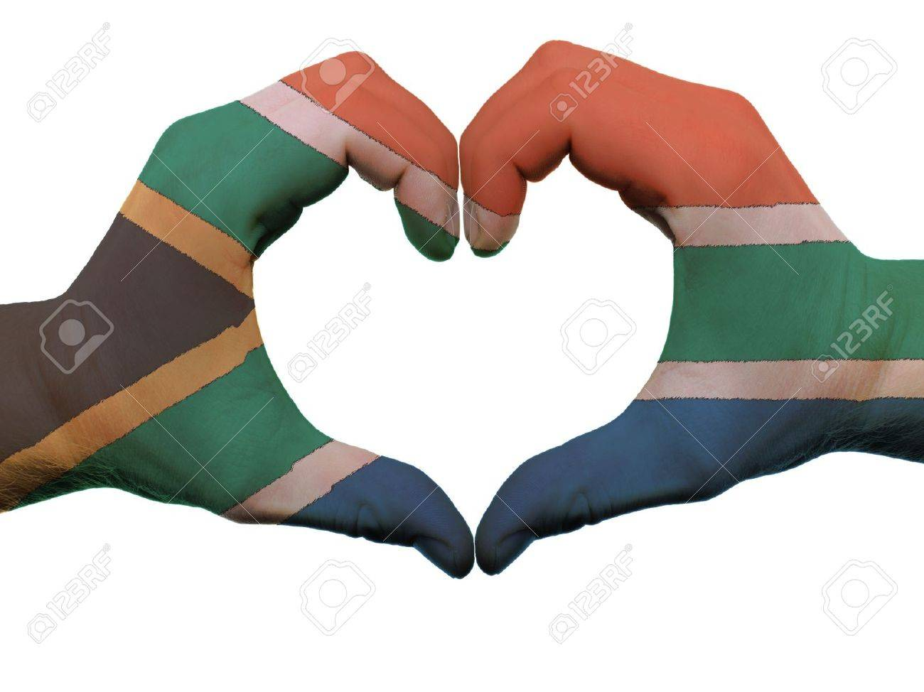 Gesture Made By South Africa Flag Colored Hands Showing Symbol Of