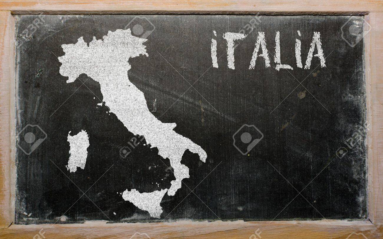 drawing of italy on chalkboard, drawn by chalk Stock Photo - 12479485