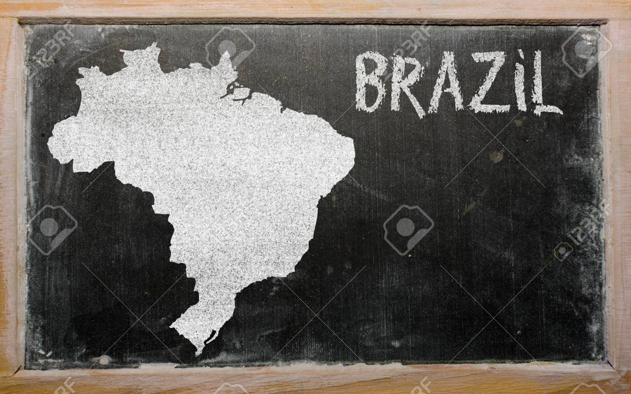 drawing of brazil on blackboard, drawn by chalk Stock Photo - 12500171