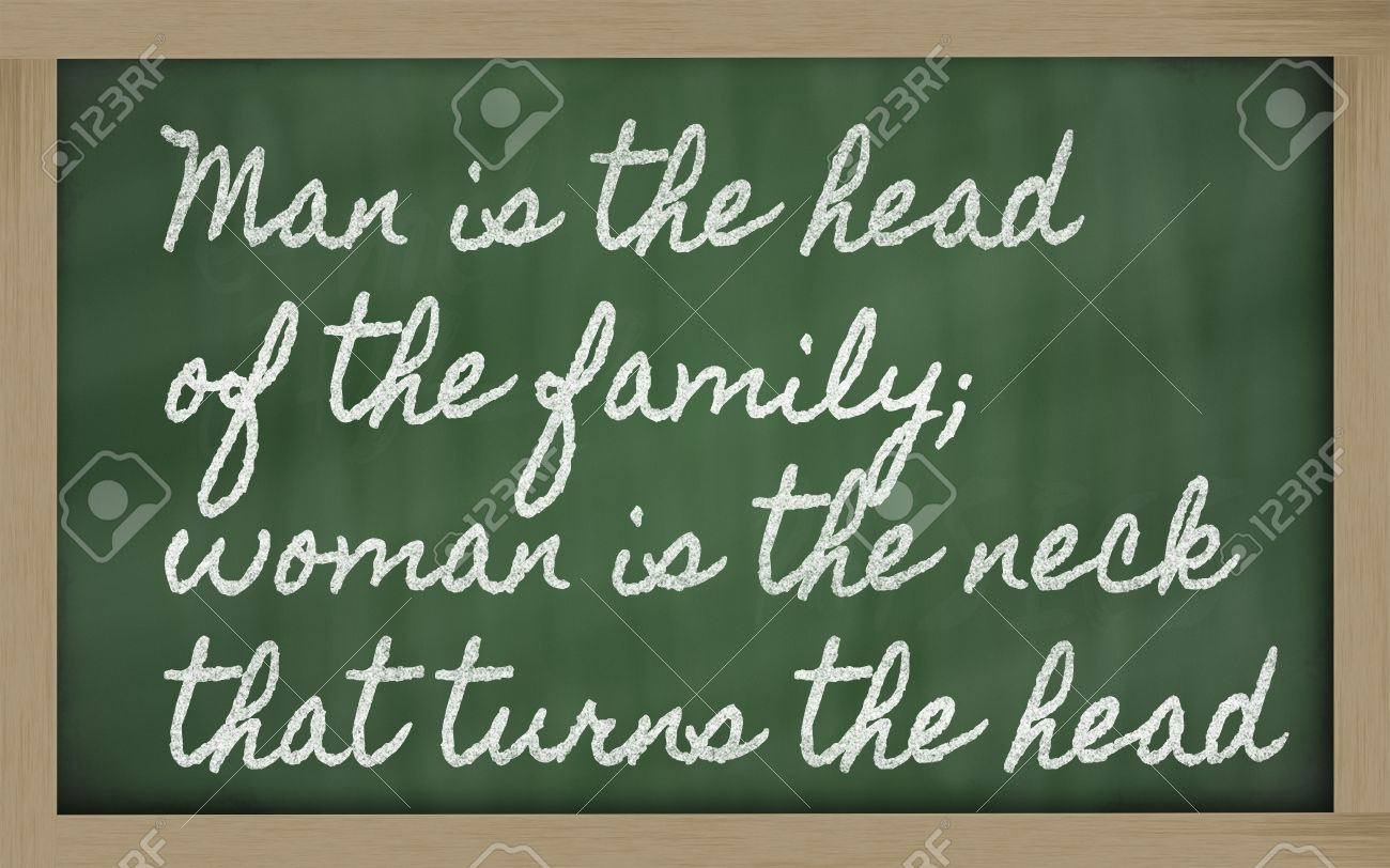 Handwriting Blackboard Writings Man Is The Head Of The Family