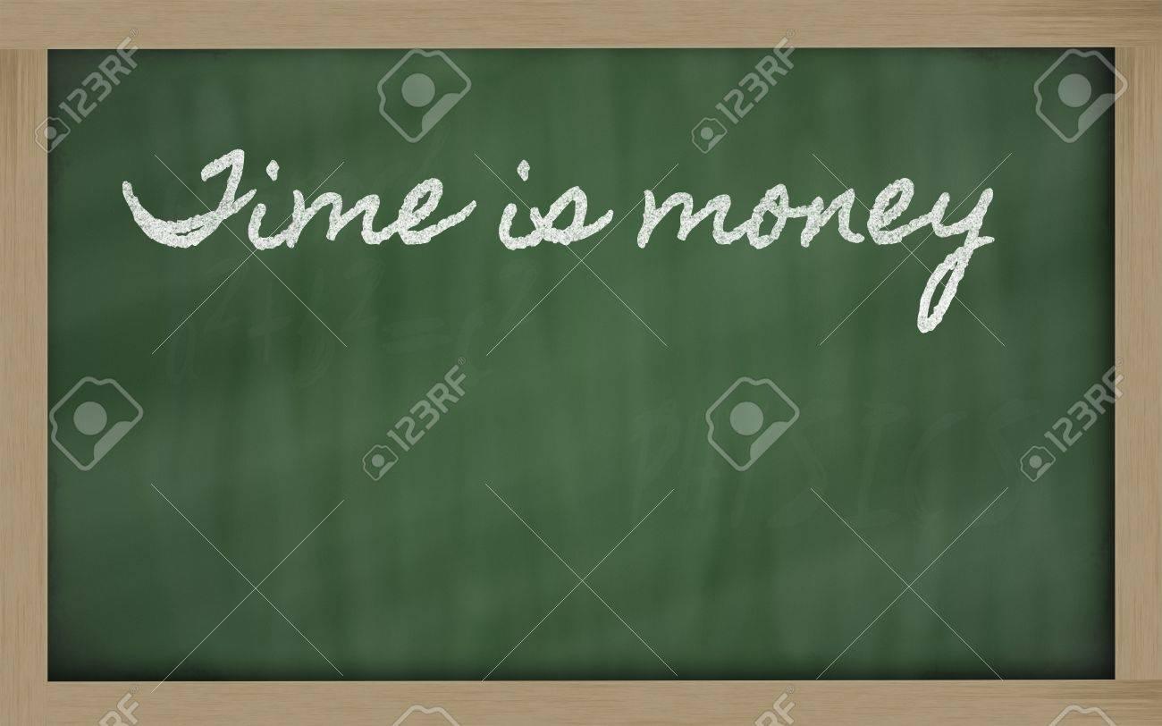 handwriting blackboard writings - Time is money Stock Photo - 12501339