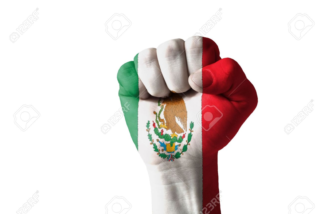 low key picture of a fist painted in colors of mexico flag stock