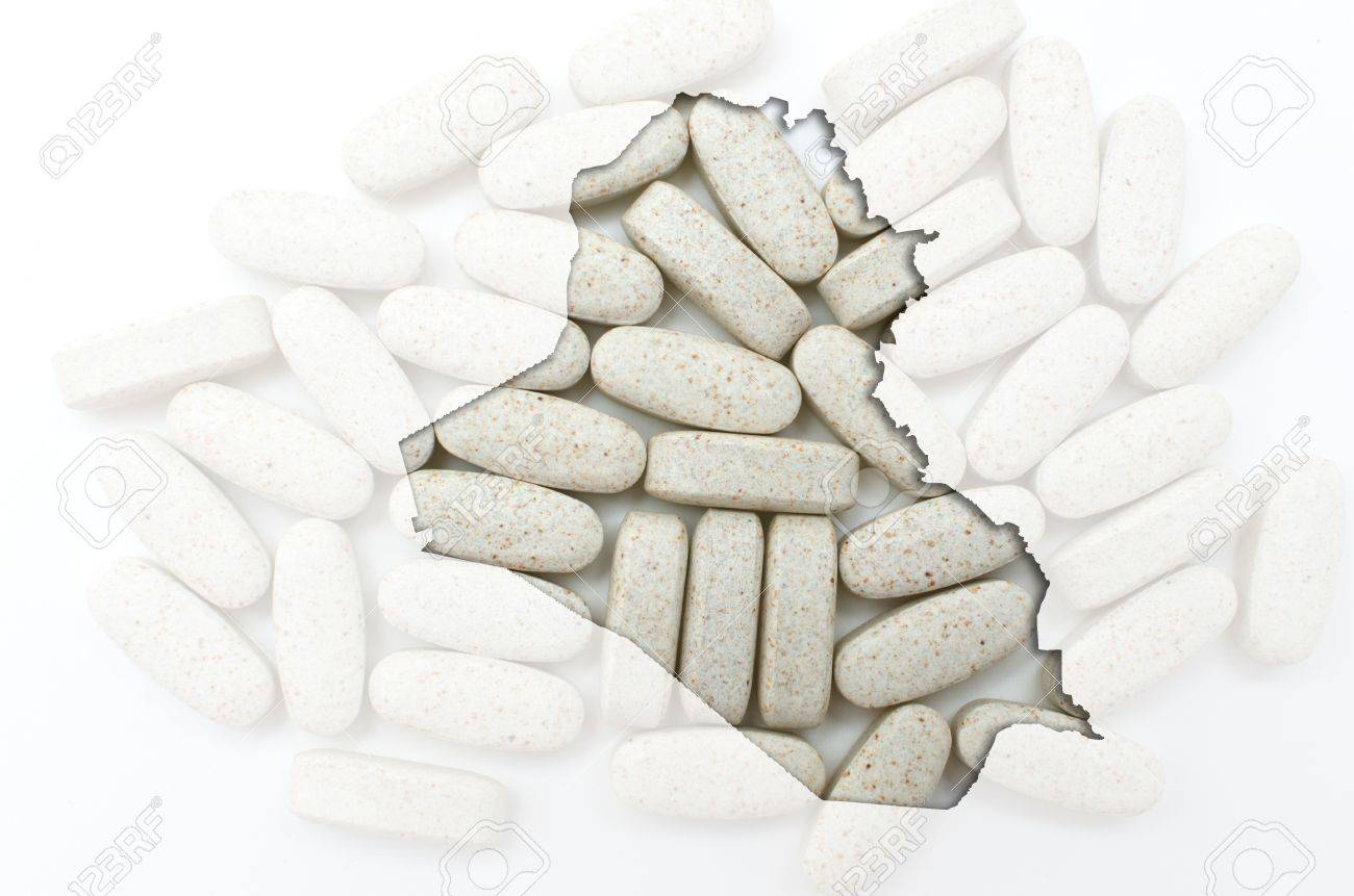Outline iraq map with transparent background of capsules symbolizing pharmacy and medicine Stock Photo - 12981486