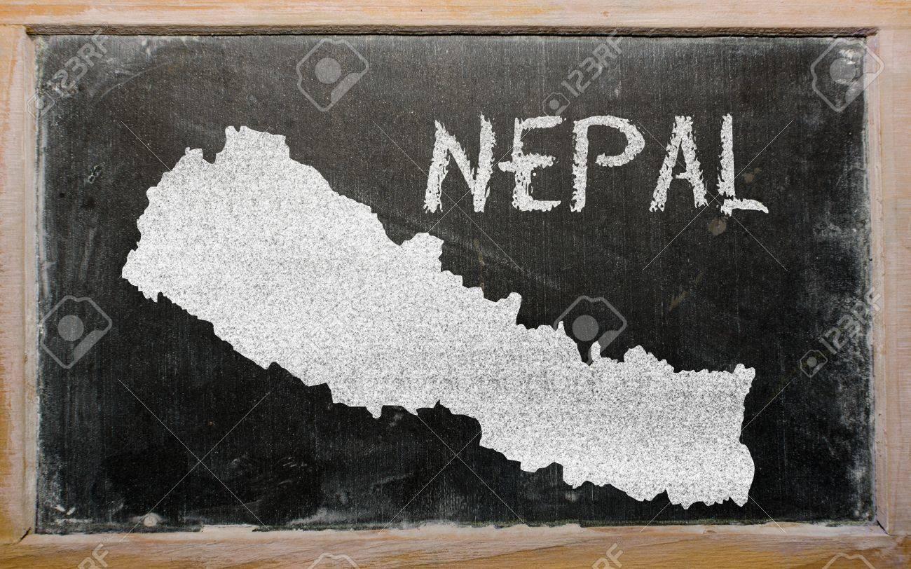 drawing of nepal on blackboard, drawn by chalk Stock Photo - 12980658