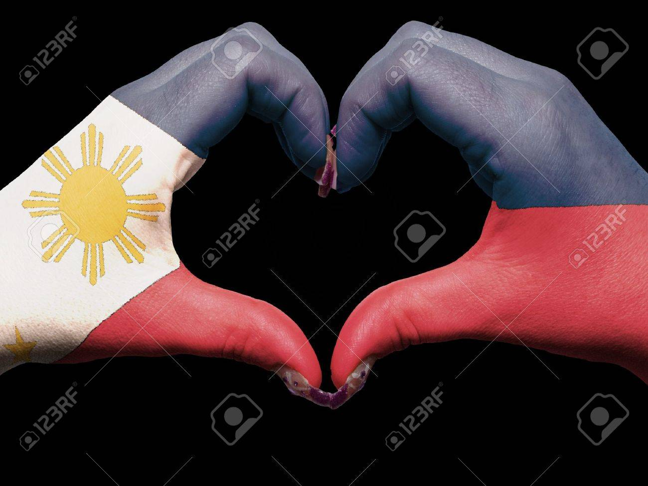 Tourist made gesture by philippines flag colored hands showing tourist made gesture by philippines flag colored hands showing symbol of heart and love stock photo buycottarizona Images