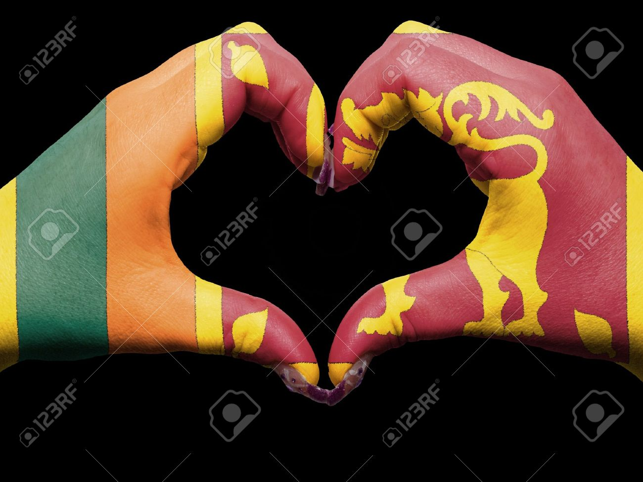 Tourist peru made by sri lanka flag colored hands showing symbol of heart and love Stock Photo - 13038829