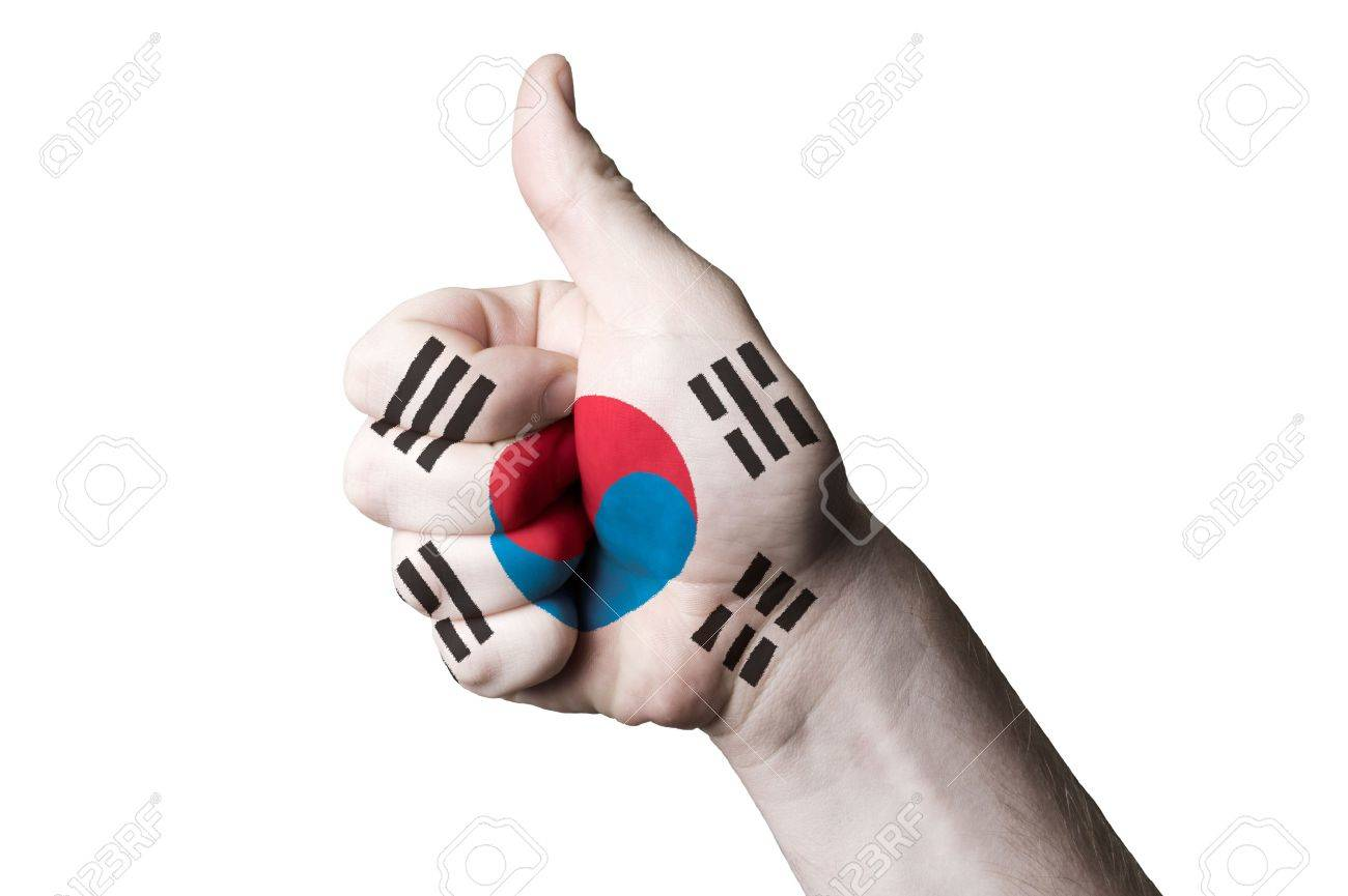 Coloring printable south korea flag - Hand With Thumb Up Gesture In Colored South Korea National Flag As Symbol Of Excellence