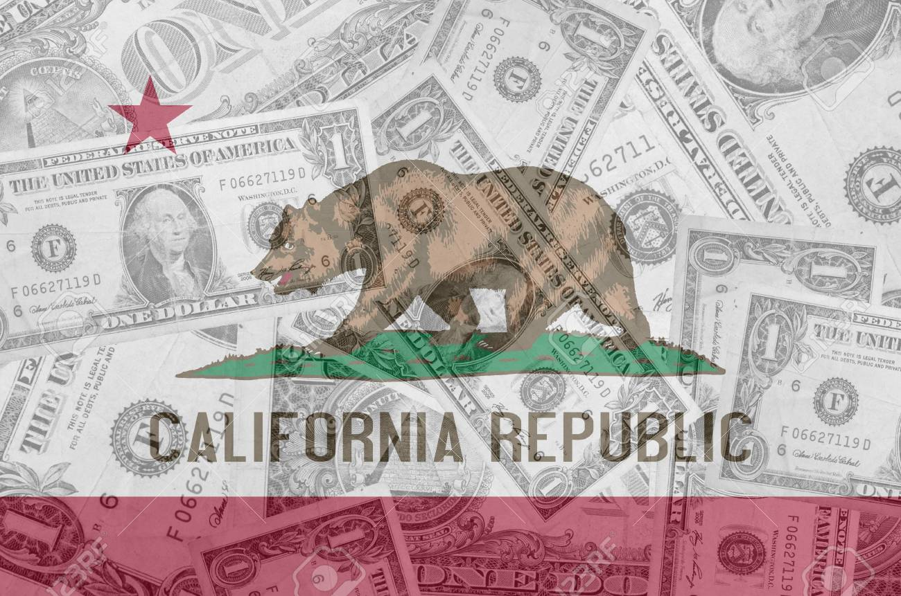 transparent united states of america state flag of california with dollar currency in background symbolizing political, economical and social government Stock Photo - 13207488
