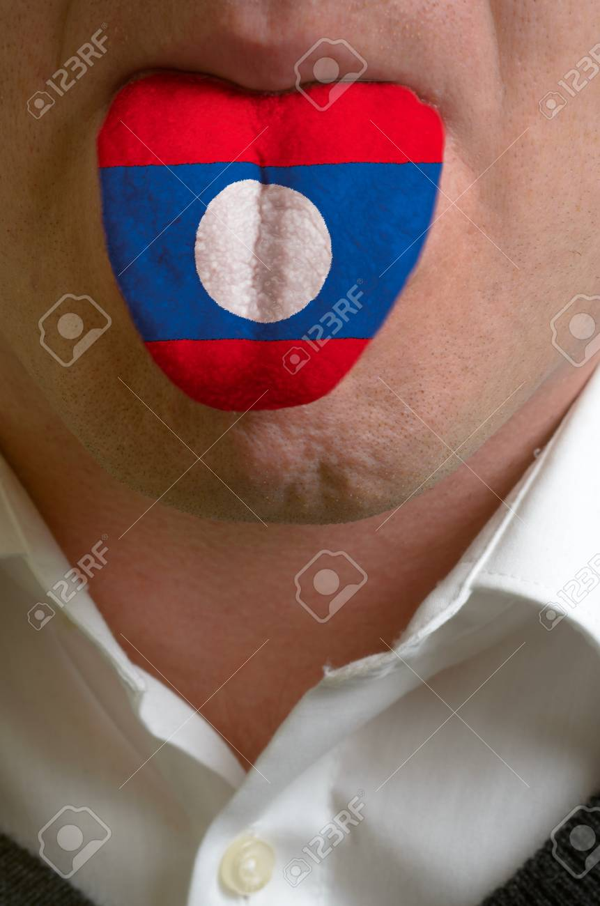 man with open mouth spreading tongue colored in laos flag as symbol of values like teaching, learning, multilingual speaking of different languages Stock Photo - 15002776