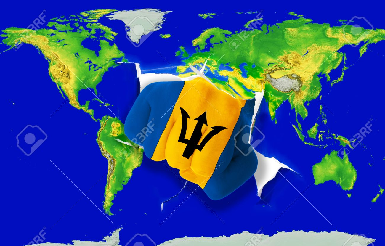 Fist In Color National Flag Of Barbados Punching World Map As - Barbados earth map