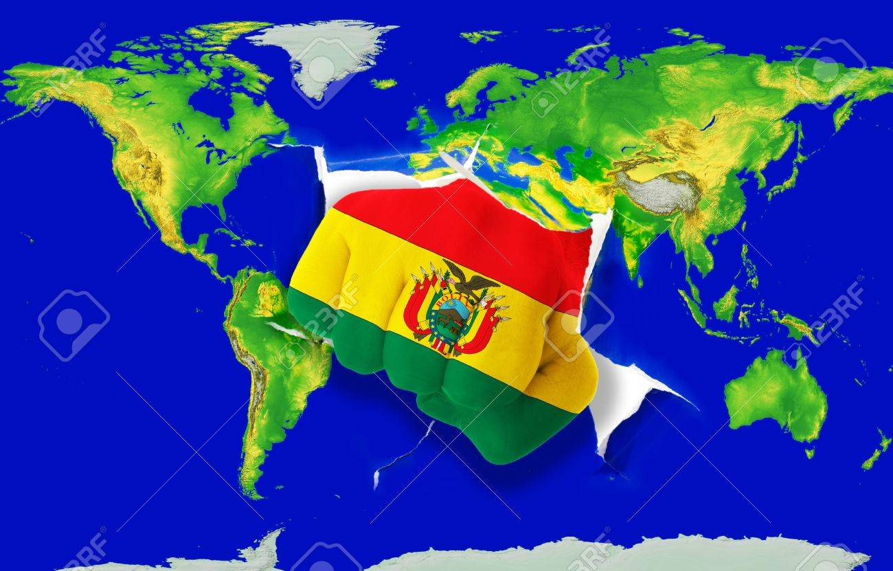 Fist In Color National Flag Of Bolivia Punching World Map As - Map of bolivia world