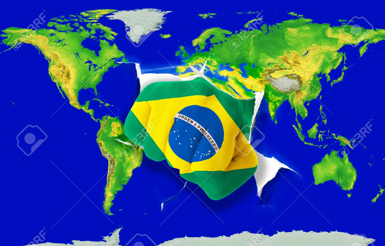 Fist in color national flag of brazil punching world map as symbol fist in color national flag of brazil punching world map as symbol of export economic gumiabroncs Image collections