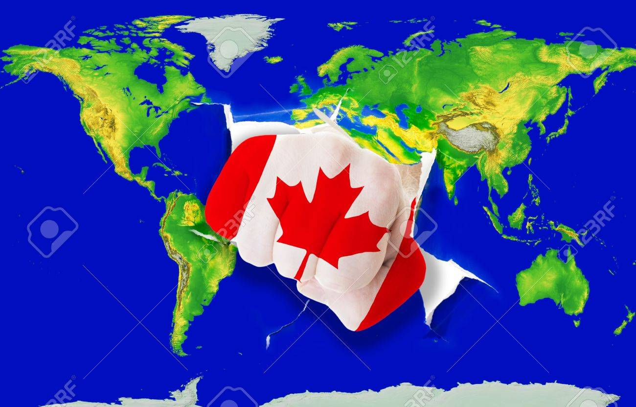 Fist In Color National Flag Of Canada Punching World Map As Symbol ...
