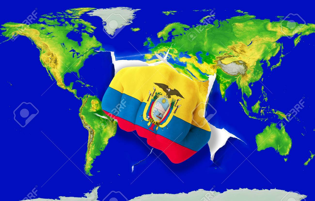 Fist In Color National Flag Of Ecuador Punching World Map As - Map of ecuador world