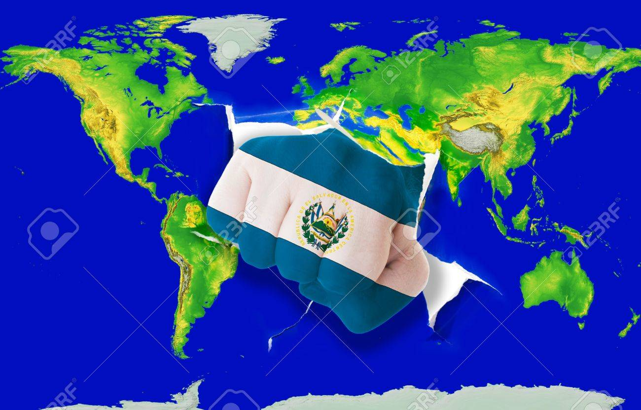 Fist In Color National Flag Of El Salvador Punching World Map - El salvador earth map