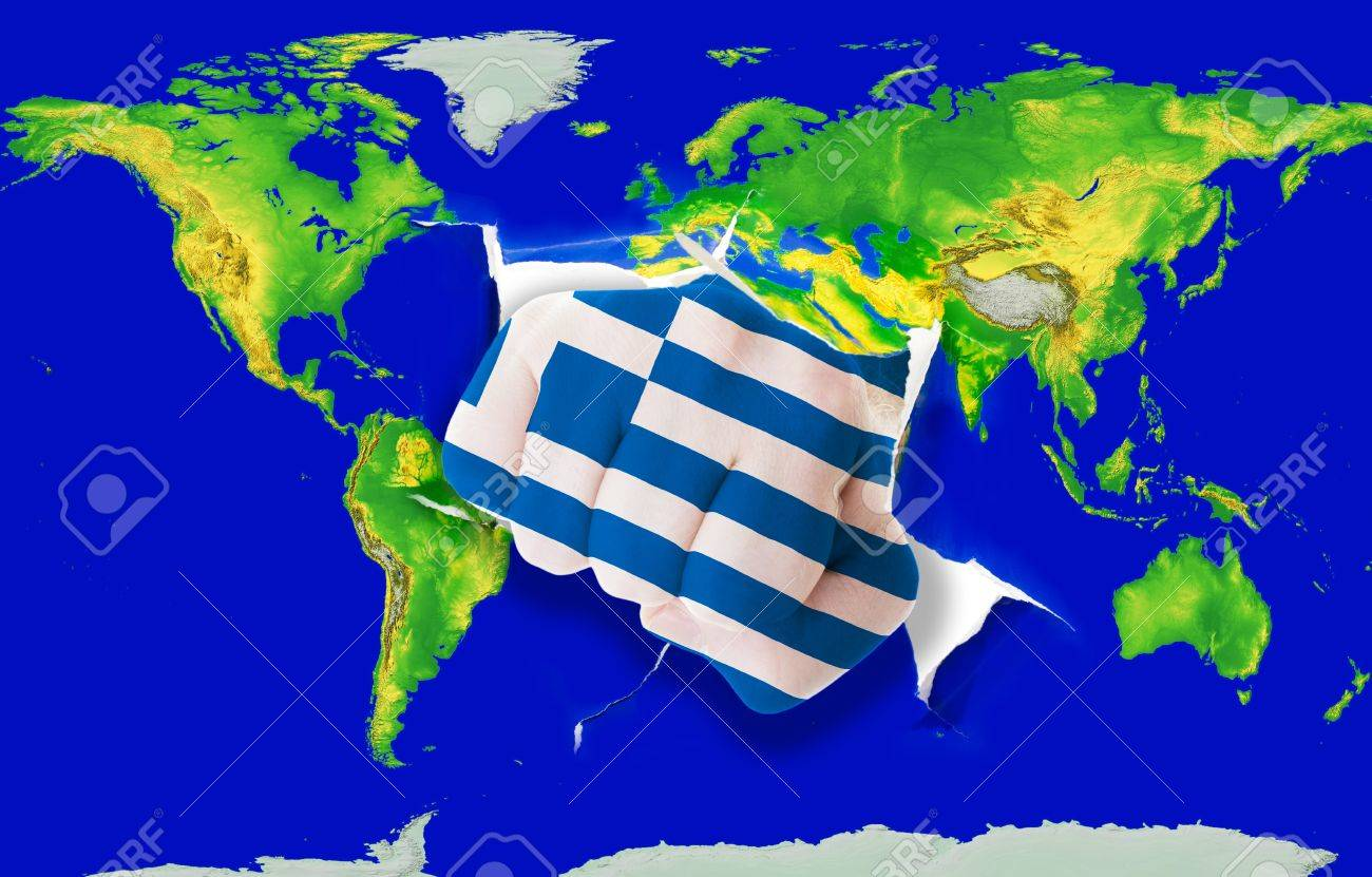 Fist In Color National Flag Of Greece Punching World Map As Symbol – Map World Greece