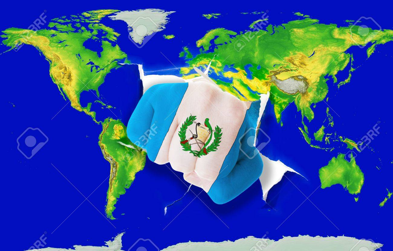 Fist In Color National Flag Of Guatemala Punching World Map As ...