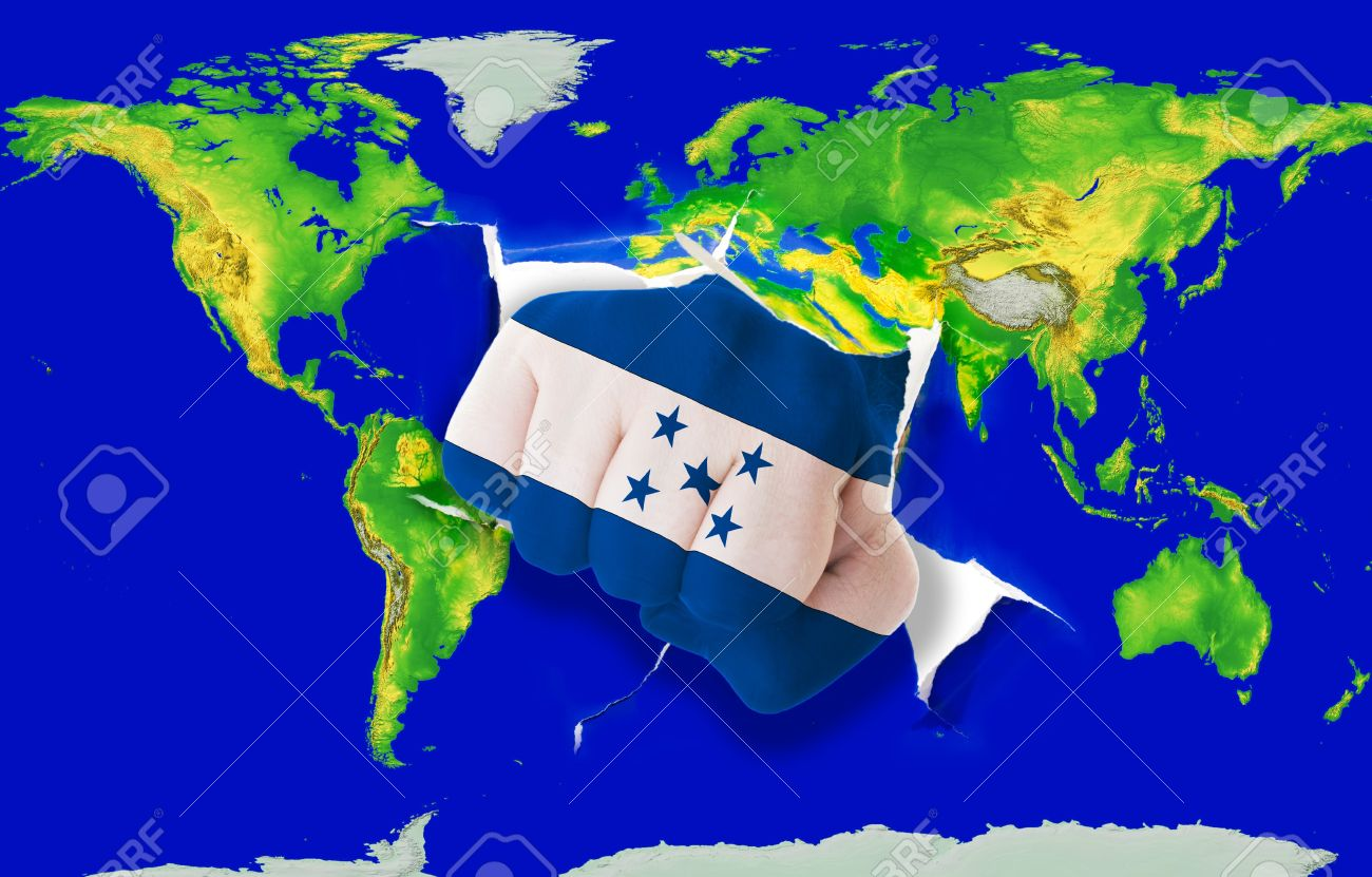 Fist In Color National Flag Of Honduras Punching World Map As