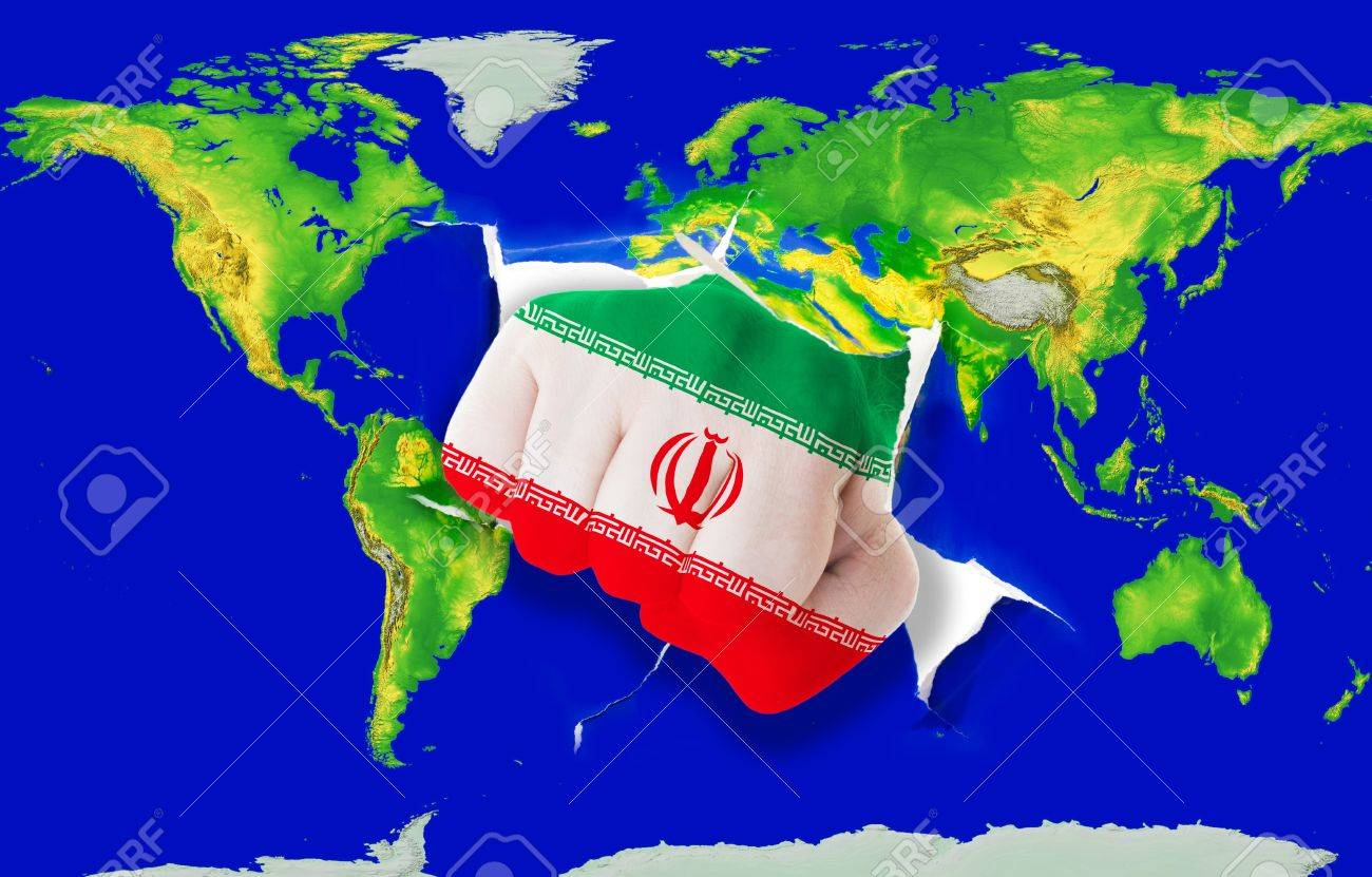 Fist in color national flag of iran punching world map as symbol fist in color national flag of iran punching world map as symbol of export economic buycottarizona Choice Image