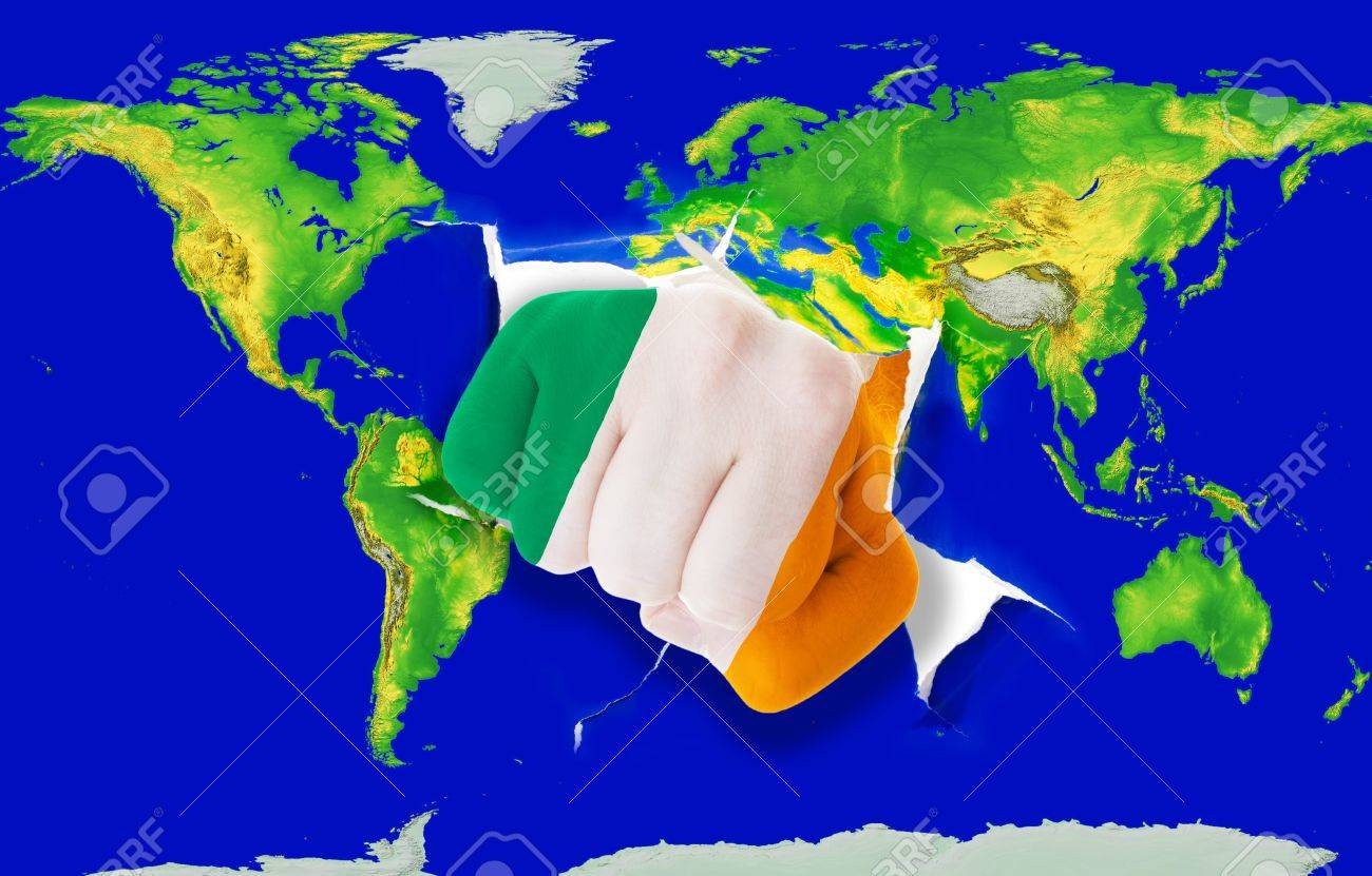 Fist In Color National Flag Of Ireland Punching World Map As.. Stock ...