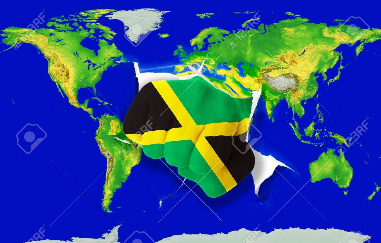 Fist In Color National Flag Of Jamaica Punching World Map As - World map jamaica