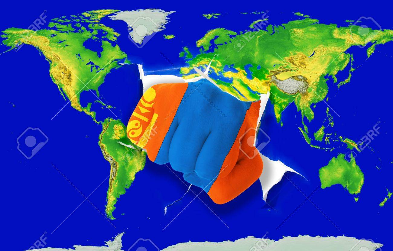 Fist in color national flag of mongolia punching world map as fist in color national flag of mongolia punching world map as symbol of export economic publicscrutiny Gallery