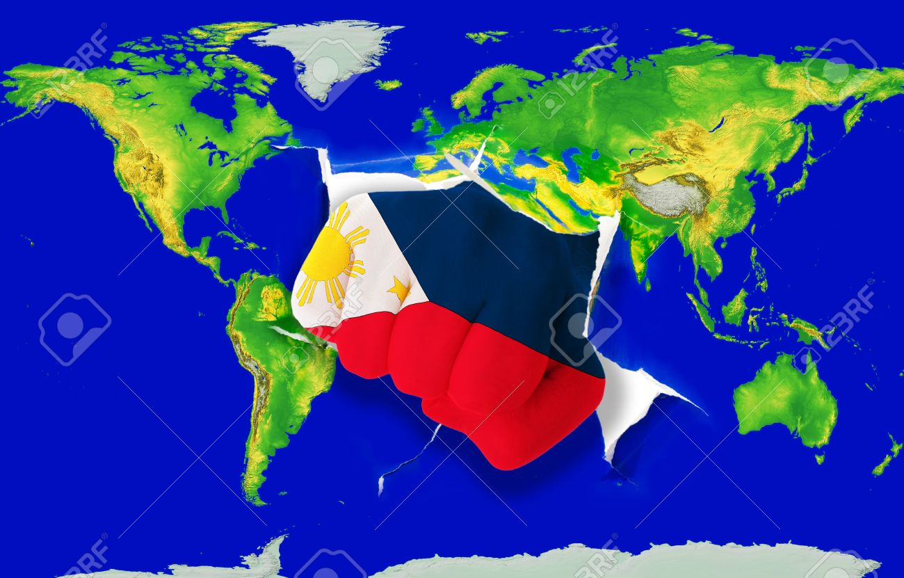 Flag World Map.Fist In Color National Flag Of Philippines Punching World Map