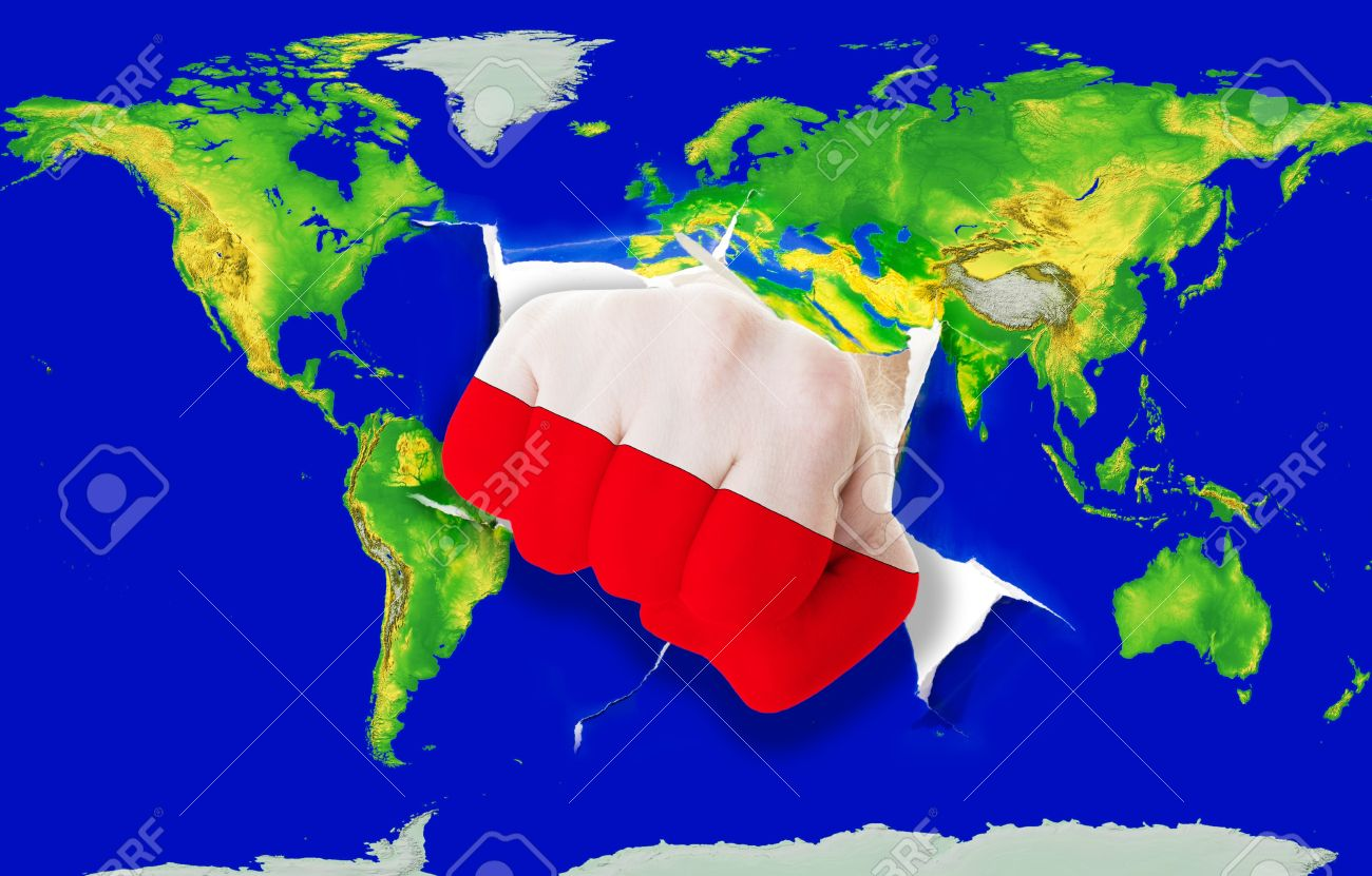 Fist in color national flag of poland punching world map as symbol fist in color national flag of poland punching world map as symbol of export economic biocorpaavc