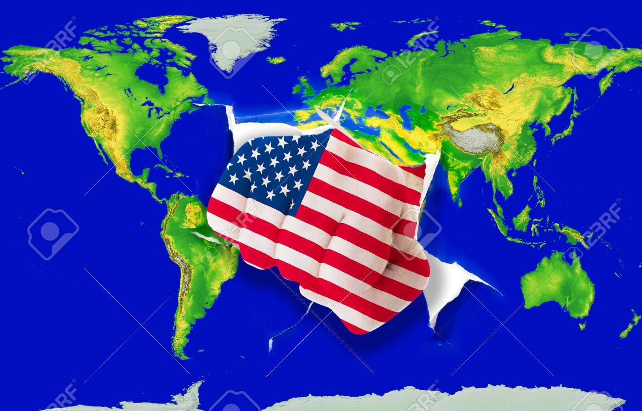 Fist In Color National Flag Of Us Punching World Map As Symbol