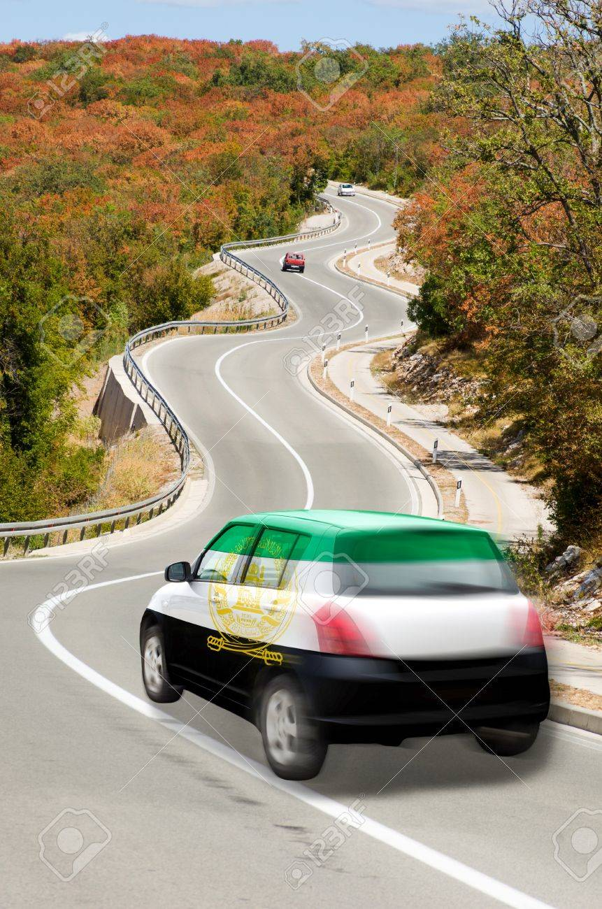 Design car flags - Stock Photo Traveling Car In National Flag Of Afghanistan Colors And Beautiful Road Landscape For Tourism And Touristic Adertising