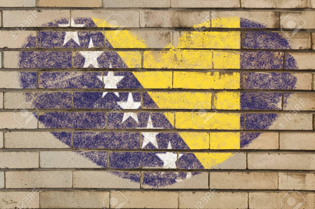 Heart Shaped Flag In Colors Of Bosnia Herzegovina On Brick Wall ...