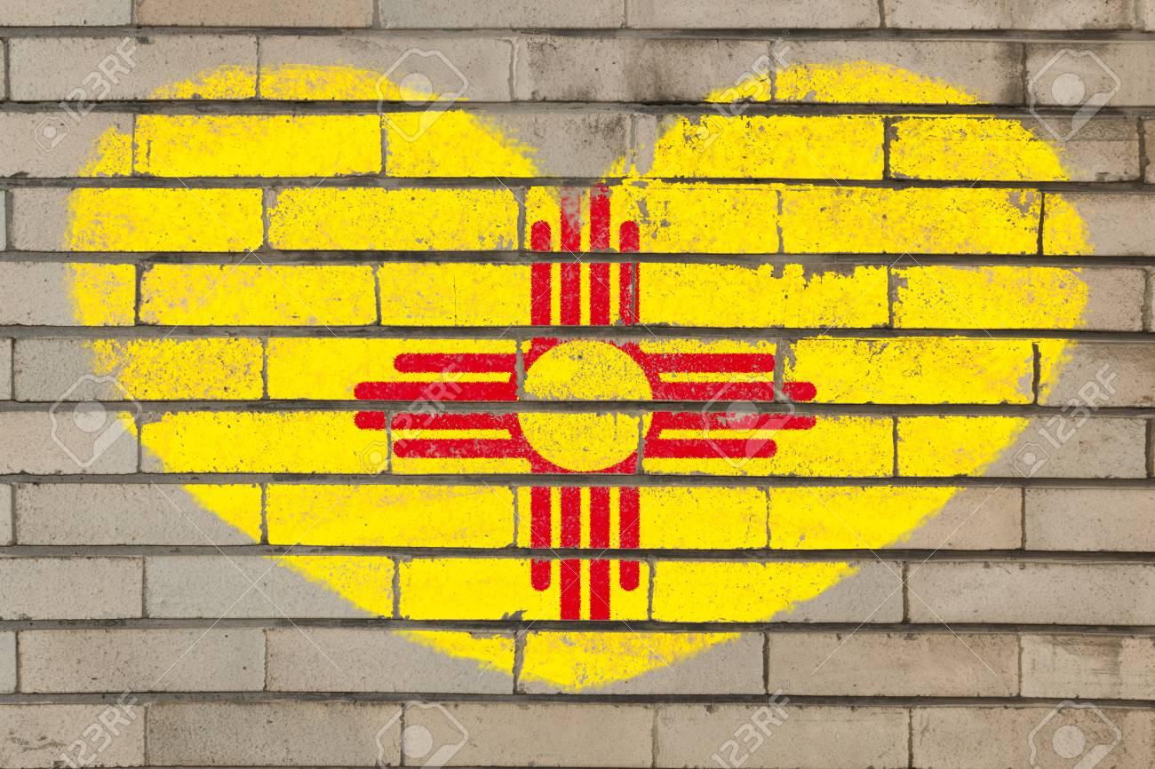Heart Shaped Flag In Colors Of New Mexico On Brick Wall Stock Photo ...