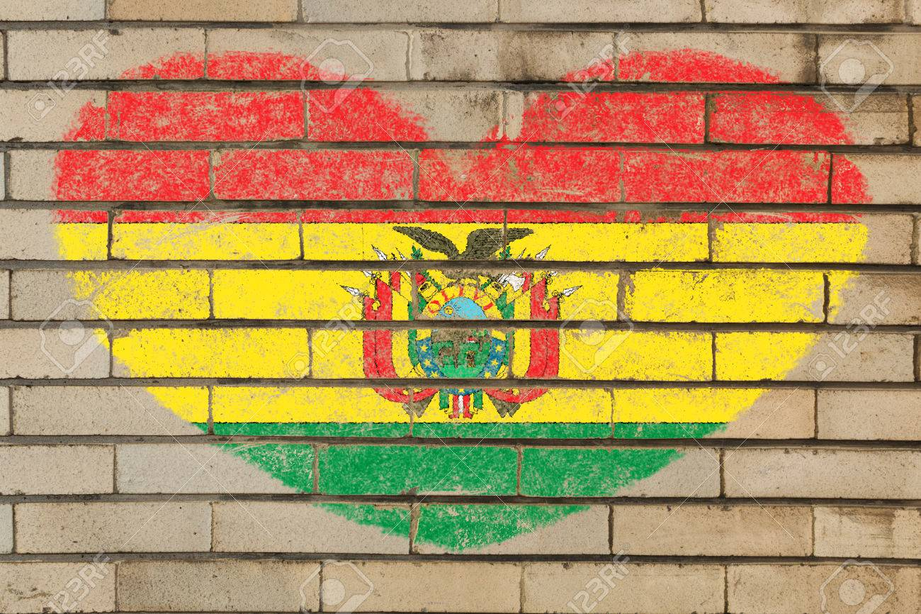 Heart Shaped Flag In Colors Of Bolivia On Brick Wall Stock Photo ...