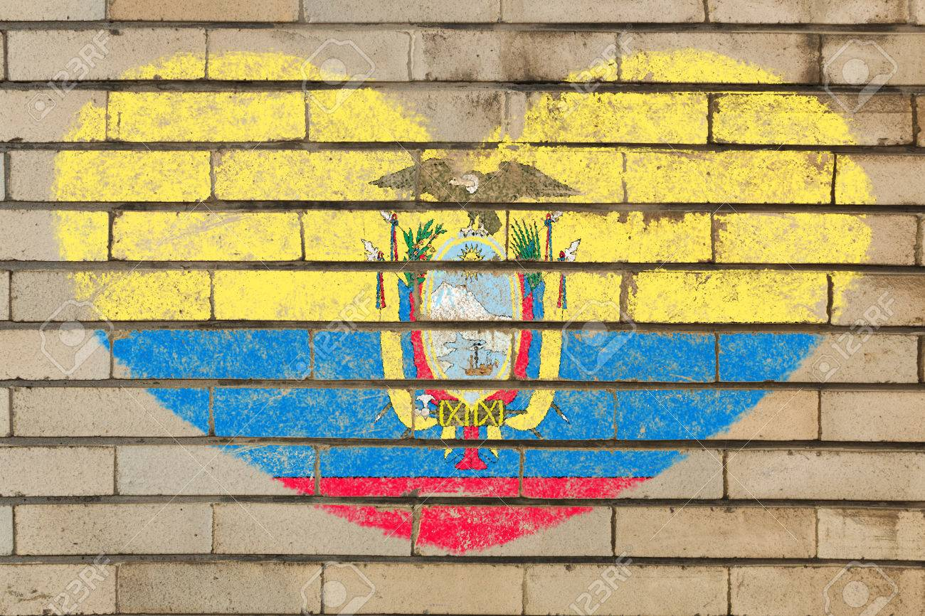 Heart Shaped Flag In Colors Of Ecuador On Brick Wall Stock Photo ...