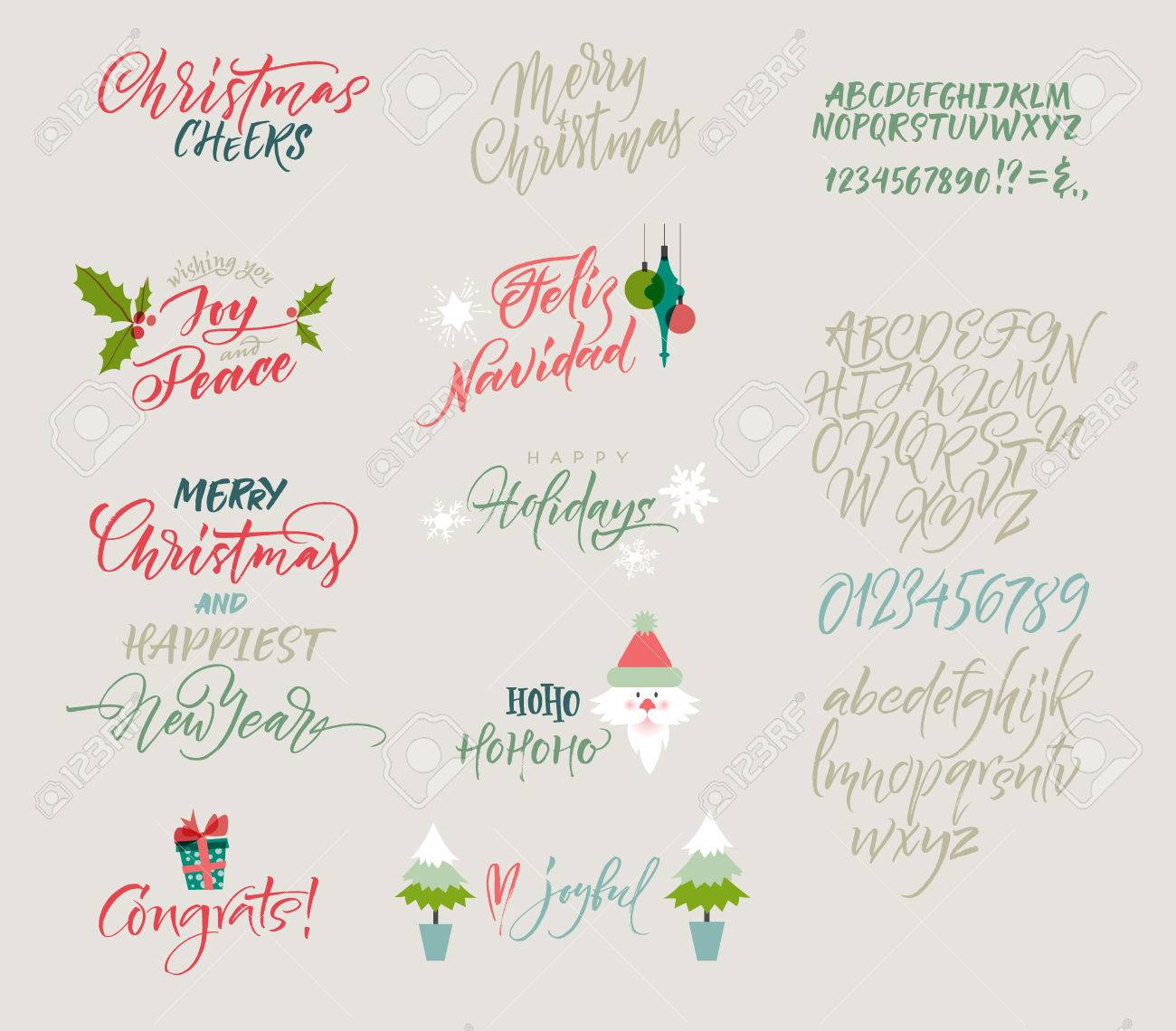 Vector alphabet christmas and new year congrats season greetings vector alphabet christmas and new year congrats season greetings lettering for postcards and kristyandbryce Gallery