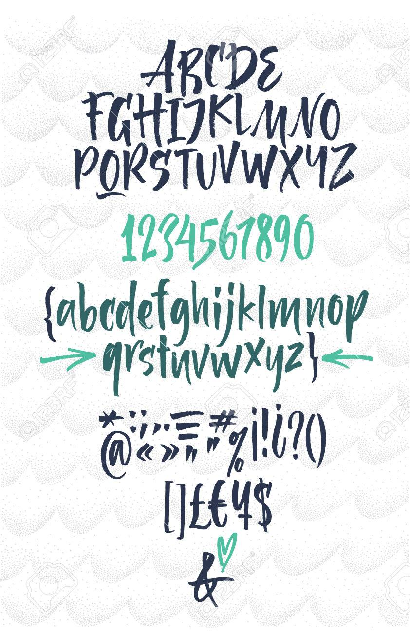 Handwritten Script Font Brush Uppercase Lowercase Numbers Punctuation Stock Vector