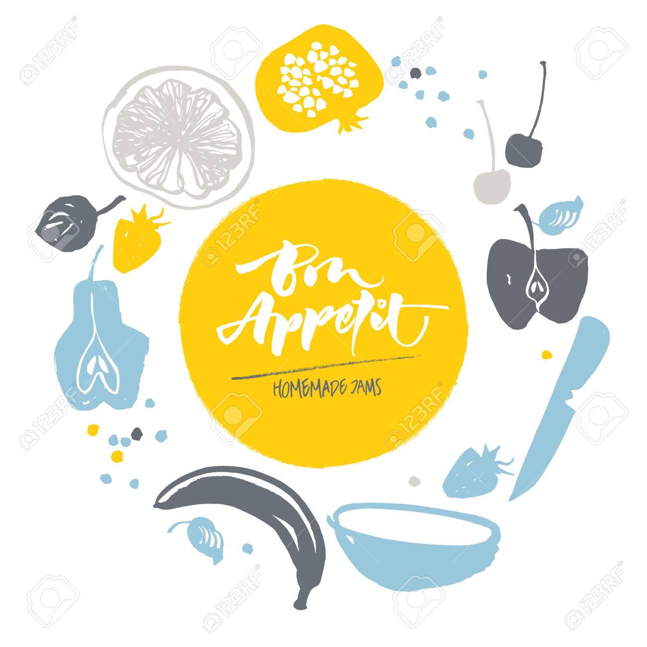 Jam labels template  Fruit silhouettes  Bon appetite lettering