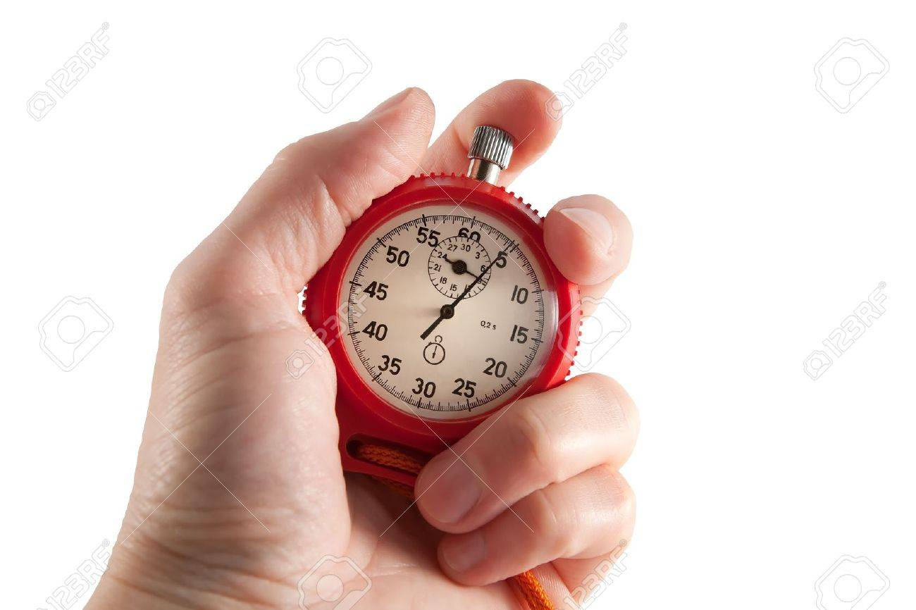Red stopwatch in hand. Stock Photo - 7251603