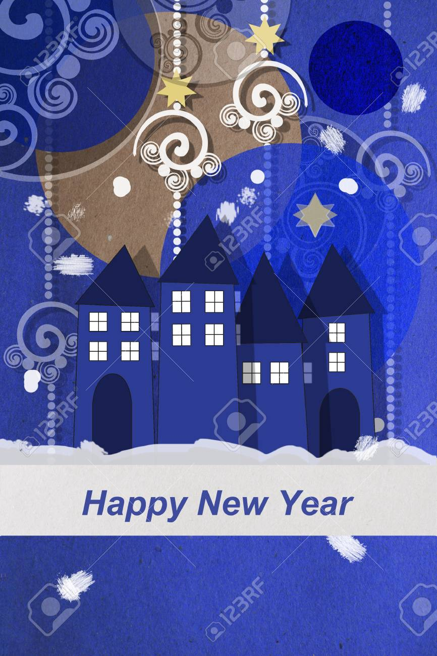 Happy New Year Greetings From A Winter Village At Twilight With