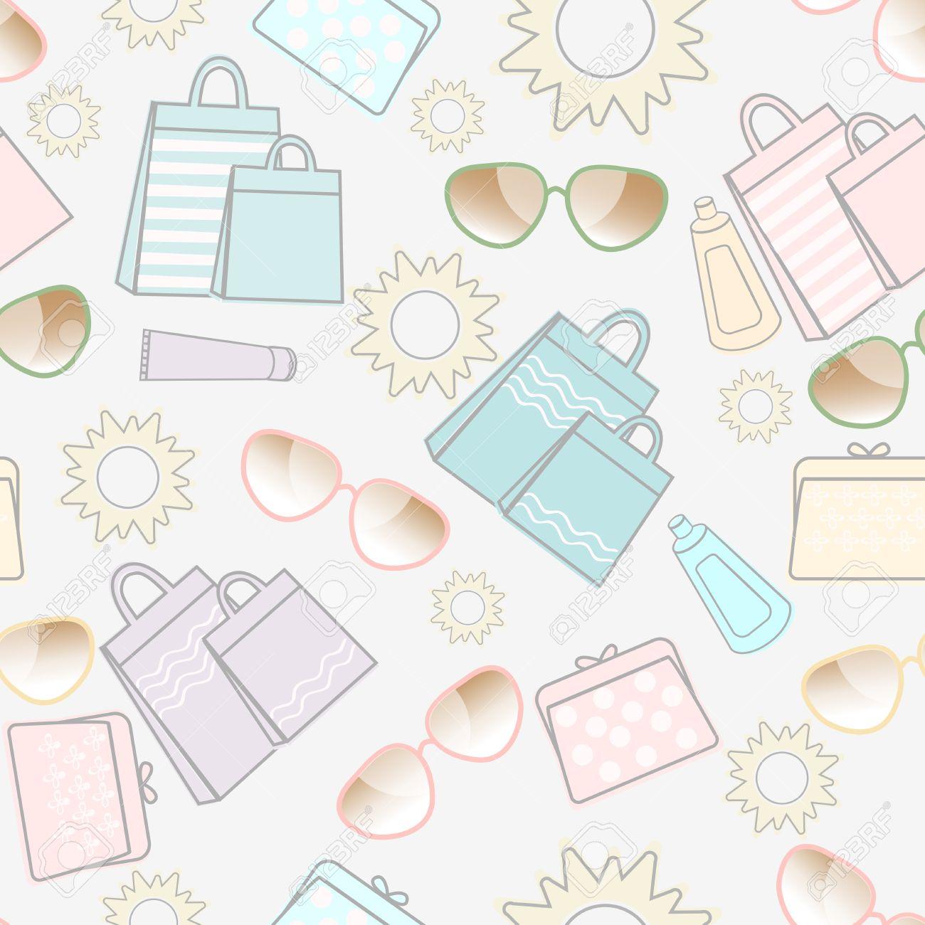 夏休み太陽、サングラス、日焼け止め、かなりハンドバッグときれいな