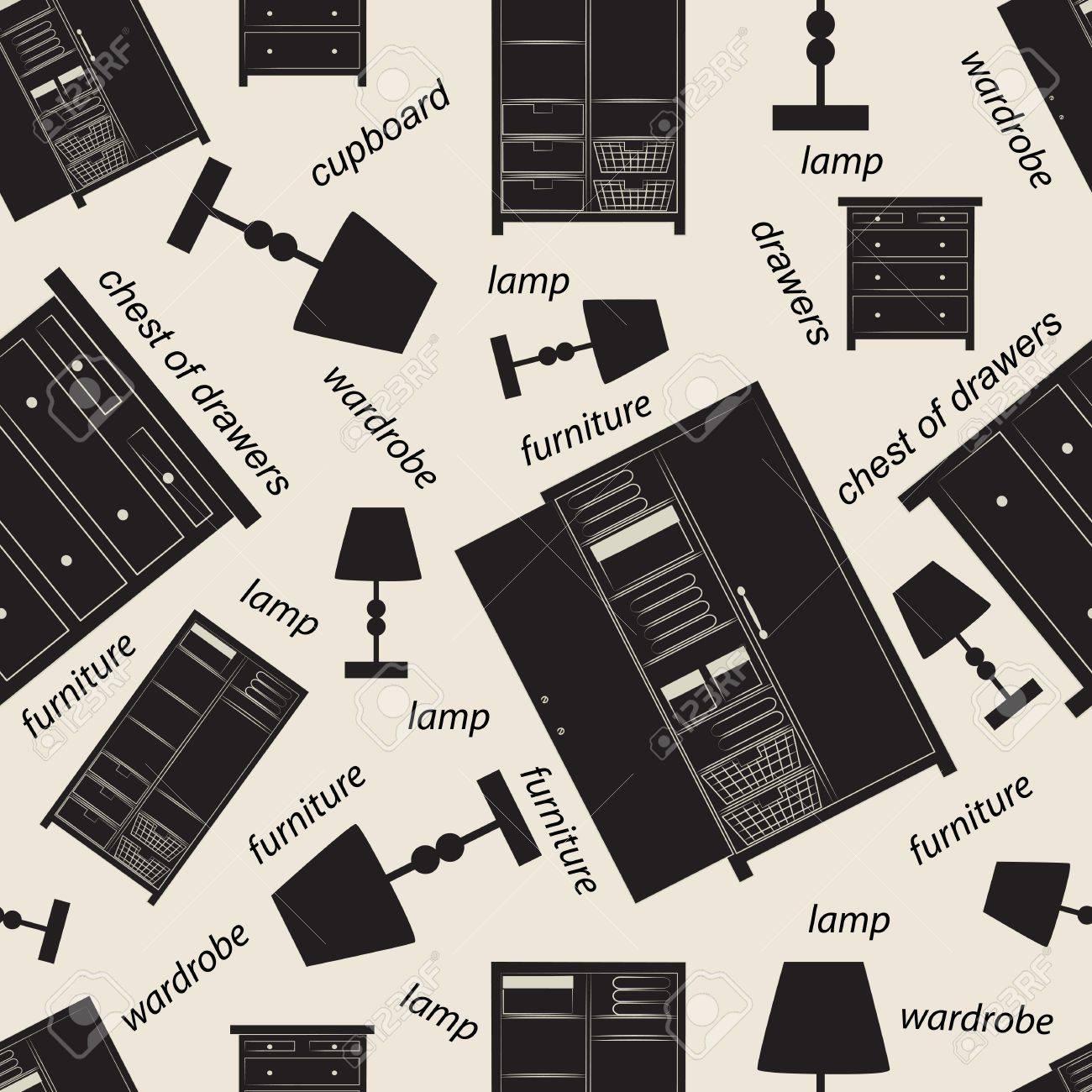Seamless mönster av diverse sovrumsmöbler inklusive skåp, garderob ...