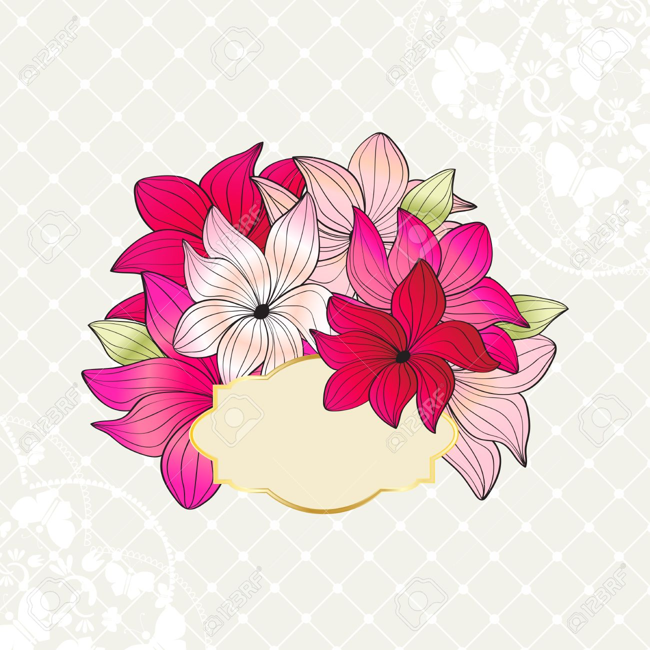 Greeting card design with bouquet of pretty pink flowers with greeting card design with bouquet of pretty pink flowers with an ornate gold rimmed label or izmirmasajfo