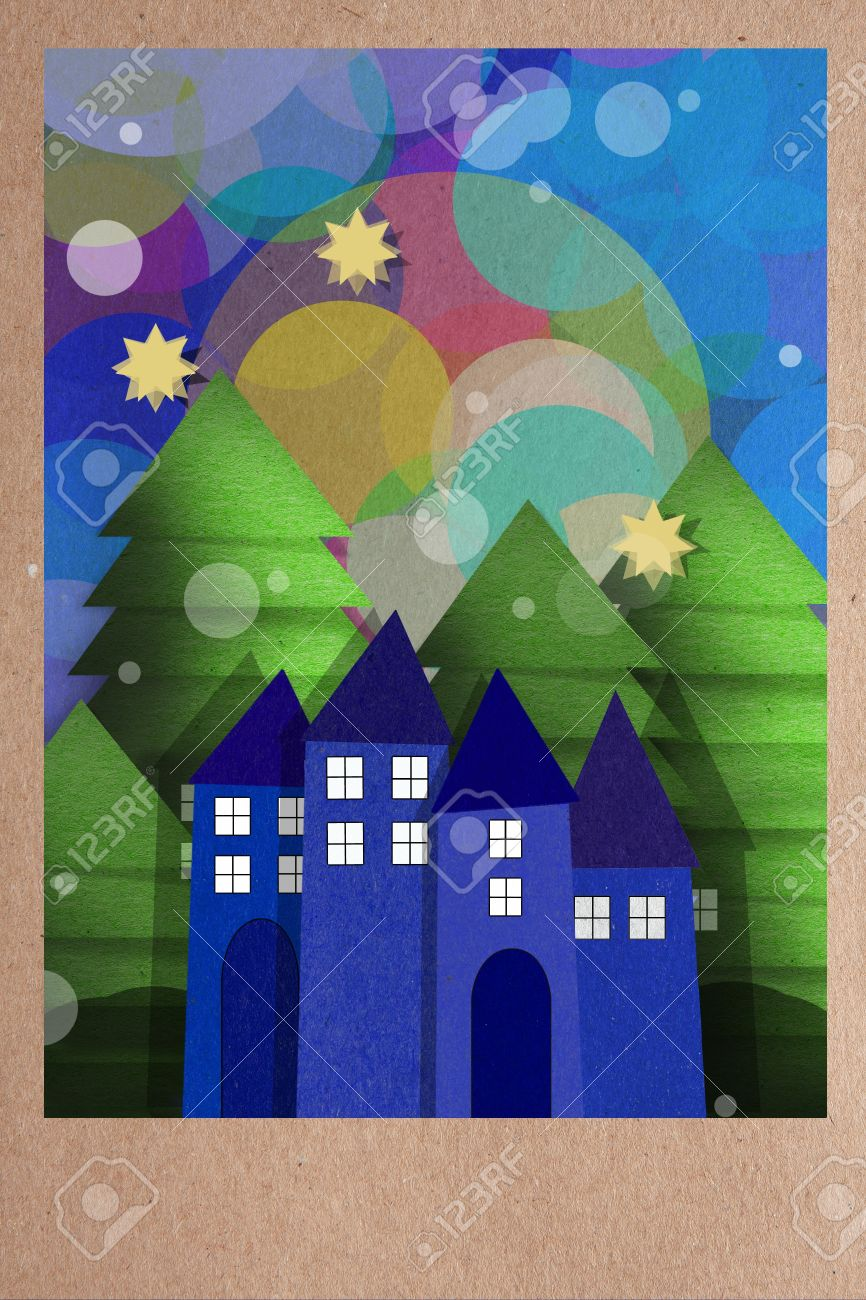 Beautiful paper applique collage of a cold winter night with falling snow over a town of
