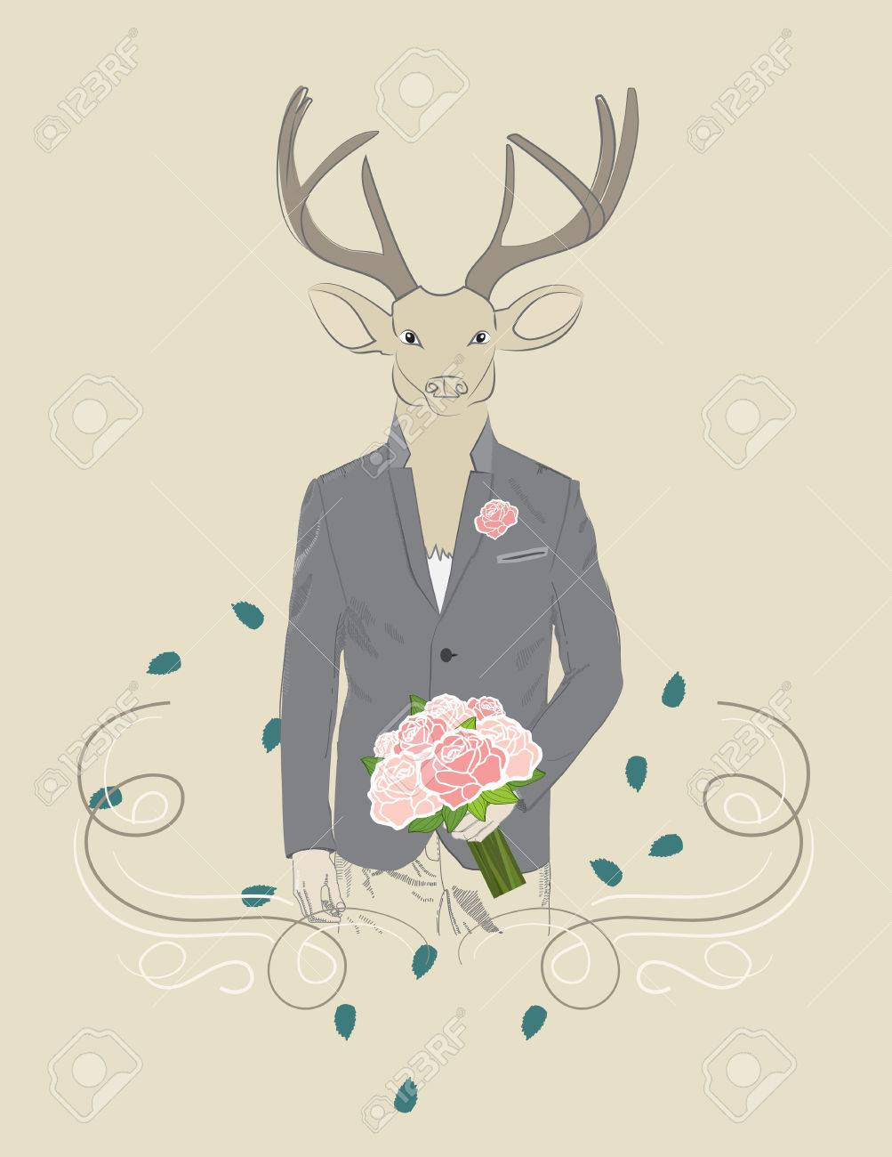 Hand drawn illustration of dressed up elegant deer with bouquet of roses Stock Vector - 27529355